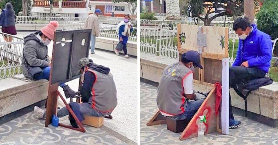 Homem que vive engraxando sapatos faz criativa barreira de proteção para trabalhar