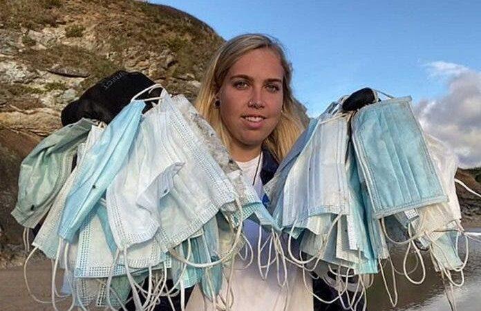 Voluntários recolhem centenas de máscaras e luvas nas praias: a epidemia do plástico na época de Covid-19