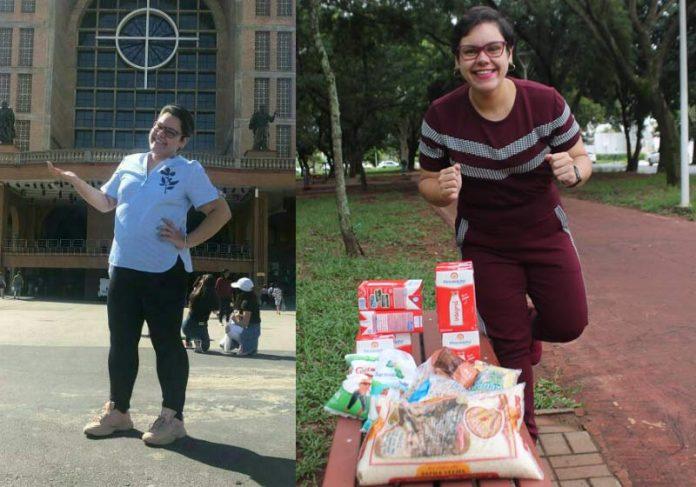 Desafio: mulher elimina 20 kg e doa mesmo peso em alimentos a crianças