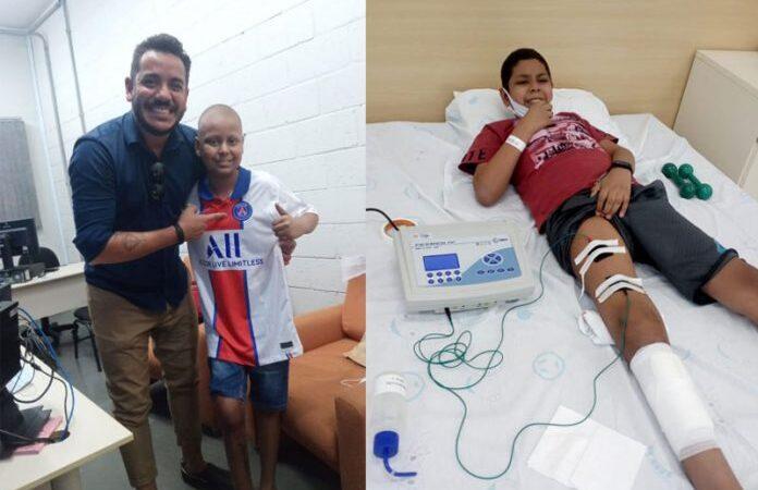 Fisioterapeuta faz surpresa pra motivar menino com câncer